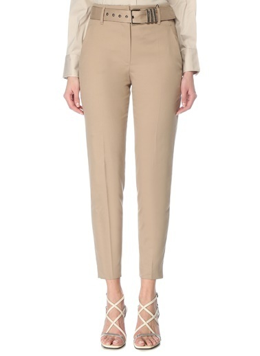 Brunello Cucinelli 101614057 Yüksek Bel Dar Paça Kemerli 4 Cepli Kadın Pantolon Bej